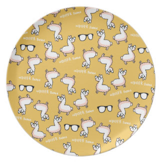 Hipster Llama Madness Melamine Plate