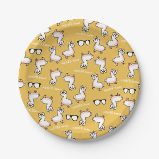 Hipster Llama Madness Paper Plate