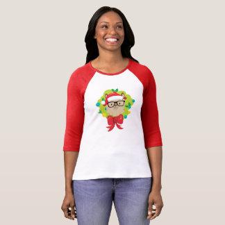 Hipster Llama Merry Christmas Wreath T-Shirt