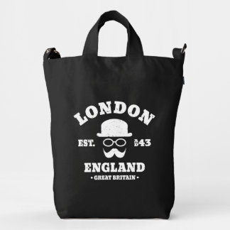 Hipster London England Bowler Hat and Moustache Duck Bag