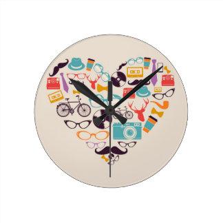 Hipster love heart round clock
