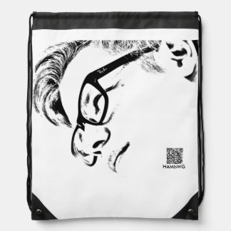Hipster Man With Glasses -  Black and White Drawstring Backpack