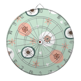 Hipster,mint,coral,white,floral,retro,70's,trendy, Dartboards
