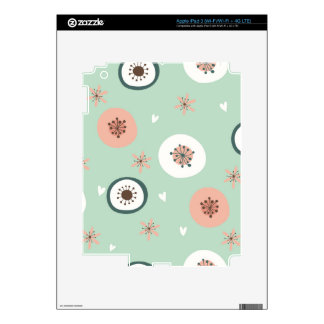 Hipster,mint,coral,white,floral,retro,70's,trendy, Skin For iPad 3