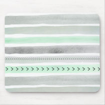 Hipster Mint Green Gray Watercolor Stripes Pattern Mouse Pad