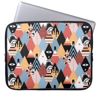 Hipster modern mystic triangle geometric pattern laptop sleeve