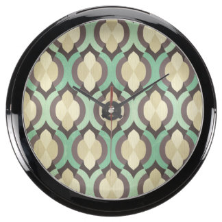 Hipster,moroccan,quatrefoil,vintage,pattern,teal,b Aqua Clocks