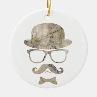 hipster moustache derby glasses 3 Double-Sided ceramic round christmas ornament