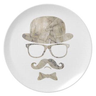 hipster moustache derby glasses 3 dinner plates