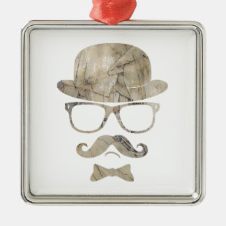 hipster moustache derby glasses 3 square metal christmas ornament