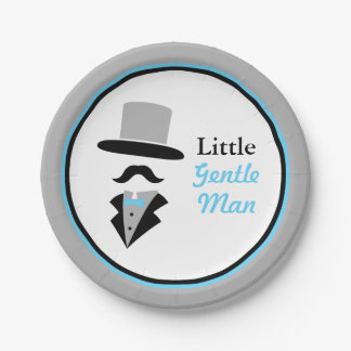 Hipster Moustache Gentleman Baby Boy Shower 7 Inch Paper Plate