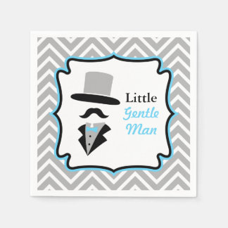 Hipster Moustache Gentleman Baby Boy Shower Paper Napkin