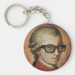 Hipster Mozart Classical Music Keychain