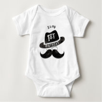 Hipster Mr. Mustache Hat Glasses 1 1st Birthday Baby Bodysuit