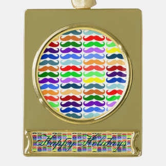 Hipster multi color mustache pattern trendy fun gold plated banner ornament