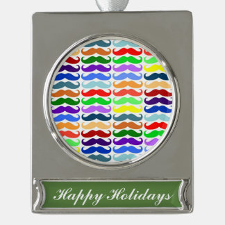 Hipster multi color mustache pattern trendy fun silver plated banner ornament