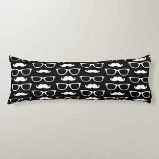 Hipster Mustache and Glasses Dot Pattern Black Body Pillow