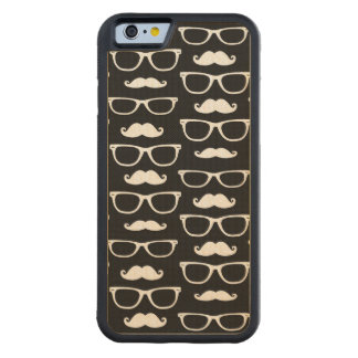 Hipster Mustache and Glasses Dot Pattern Black Carved Maple iPhone 6 Bumper Case