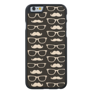Hipster Mustache and Glasses Dot Pattern Black Carved Maple iPhone 6 Slim Case