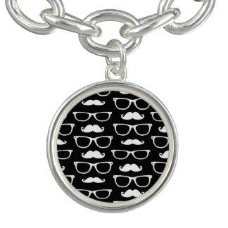 Hipster Mustache and Glasses Dot Pattern Black Charm Bracelets