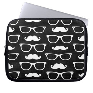 Hipster Mustache and Glasses Dot Pattern Black Computer Sleeve