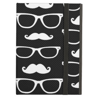 Hipster Mustache and Glasses Dot Pattern Black Cover For iPad Air