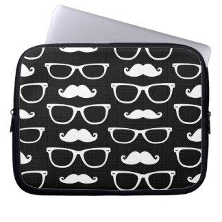 Hipster Mustache and Glasses Dot Pattern Black Laptop Sleeve