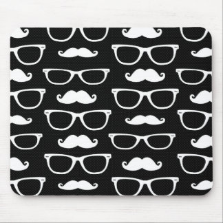 Hipster Mustache and Glasses Dot Pattern Black Mouse Pad