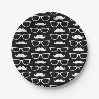 Hipster Mustache and Glasses Dot Pattern Black Paper Plate