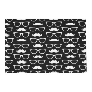 Hipster Mustache and Glasses Dot Pattern Black Placemat