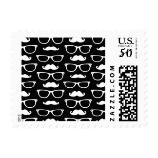 Hipster Mustache and Glasses Dot Pattern Black Postage