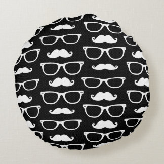 Hipster Mustache and Glasses Dot Pattern Black Round Pillow