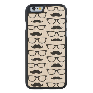 Hipster Mustache and Glasses Dot Pattern Carved Maple iPhone 6 Case