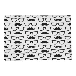 Hipster Mustache and Glasses Dot Pattern Placemat