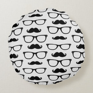 Hipster Mustache and Glasses Dot Pattern Round Pillow