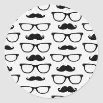 Hipster Mustache and Glasses Dot Pattern White Classic Round Sticker