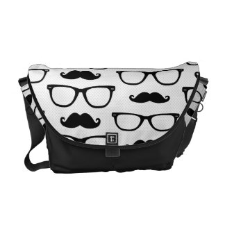 Hipster Mustache and Glasses Dot Pattern White Courier Bags