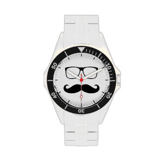 Hipster Mustache and Glasses - Retro Funny Style Watches