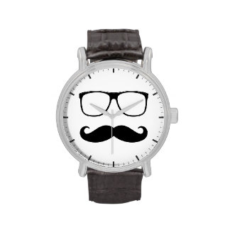 Hipster Mustache and Glasses - Retro Funny Style Wristwatch