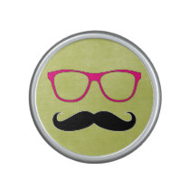 Hipster Mustache and Pink Glasses Bluetooth Speaker