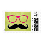 Hipster Mustache and Pink Glasses Stamp