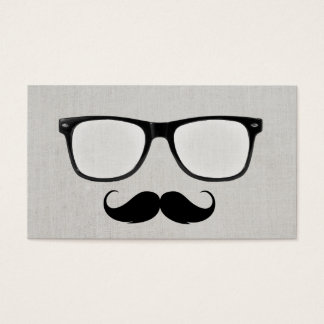 Hipster Mustache Nerdy Glasses Gray Linen Business Card
