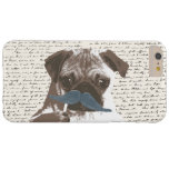 Hipster Mustache Pug Handscript Background Barely There iPhone 6 Plus Case