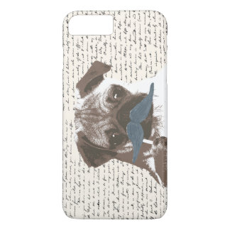 Hipster Mustache Pug Handscript Background iPhone 7 Plus Case