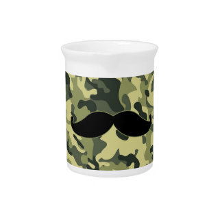 hipster mustache with army Camouflage background Drink Pitcher