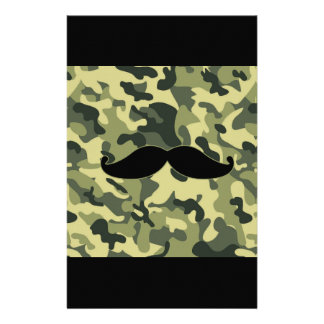 hipster mustache with army Camouflage background Stationery