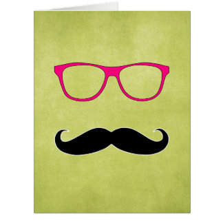 Hipster Mustache with Girly Pink Glasses Card