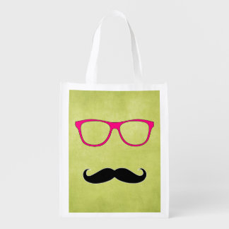 Hipster Mustache with Girly Pink Glasses Reusable Grocery Bag
