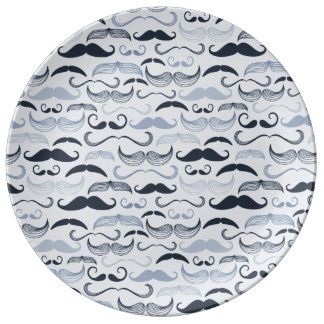 Hipster Mustaches Porcelain Plates