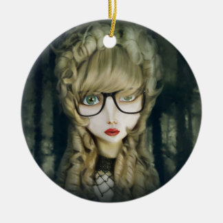 Hipster nerd ceramic ornament